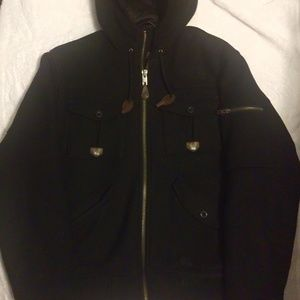North face buckeye bomber wool coat